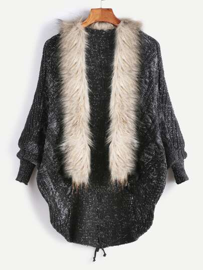 Black Faux Fur Collar Lace Up Back Sweater Coat