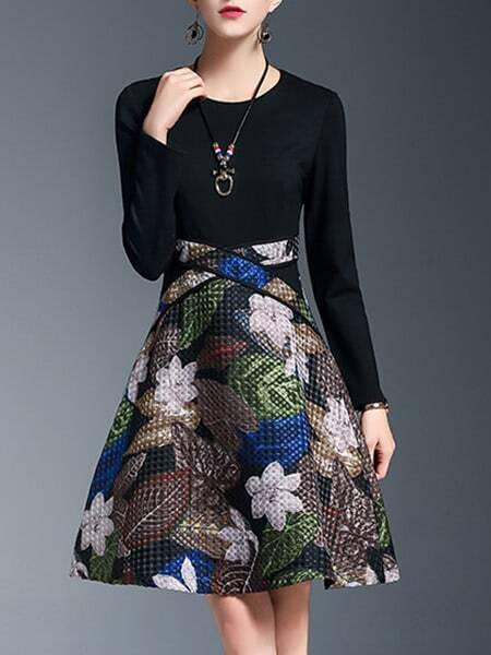 Фото Black Flowers Jacquard A-Line Dress. Купить с доставкой