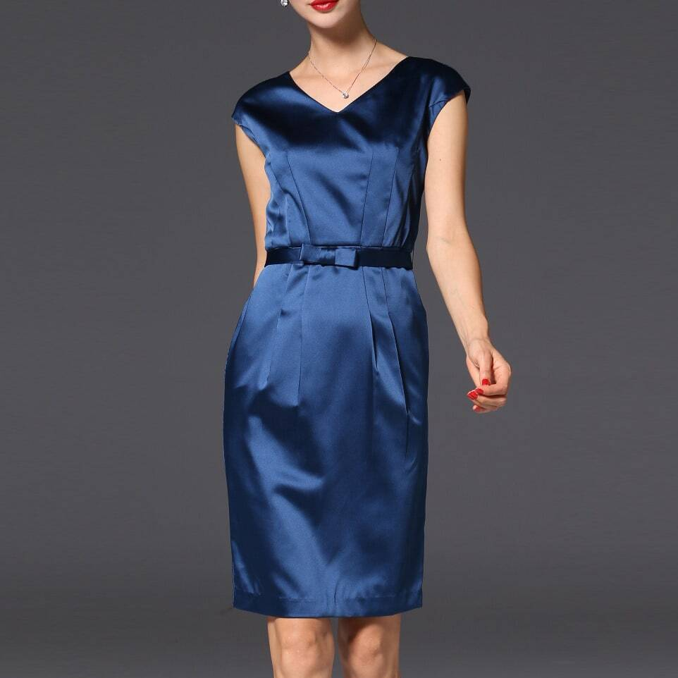 Фото Navy V Neck Belted Sheath Dress. Купить с доставкой