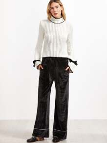 Black Self Belt Contrast Piping Wide Leg Velvet Pants