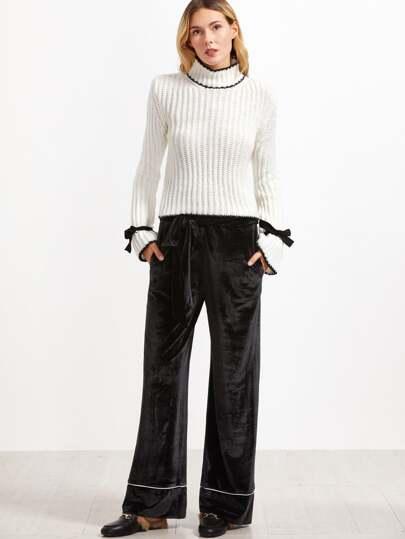 Black Self Belt Contrast Piping Wide Leg Velvet Pants