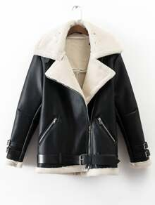 Black Lapel Oblique Zipper Faux Shearling Coat With Belt