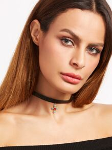 Gemstone Pendant Black Leather Choker
