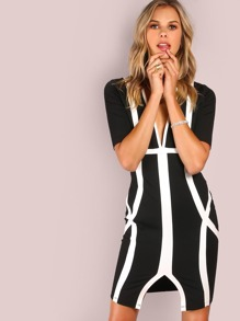 Deep V Geo Lined Bodycon Dress BLACK