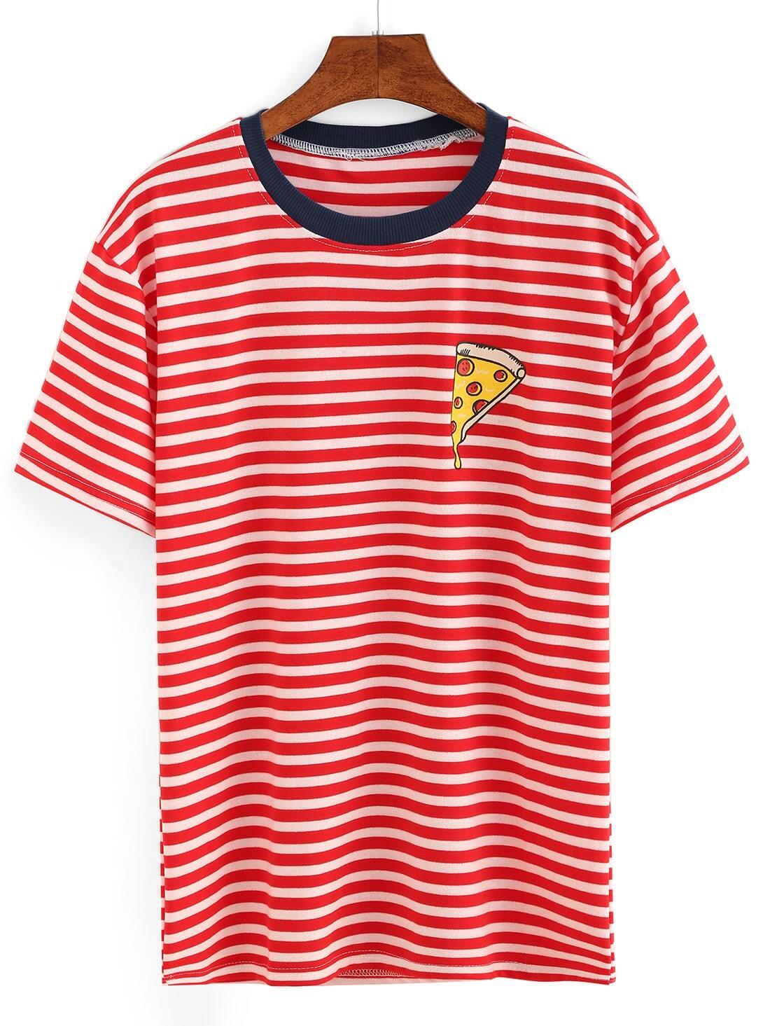Contrast Trim Pizza Print Striped T-shirt RTSH161102599