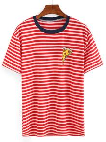 Contrast Trim Pizza Print Striped T-shirt