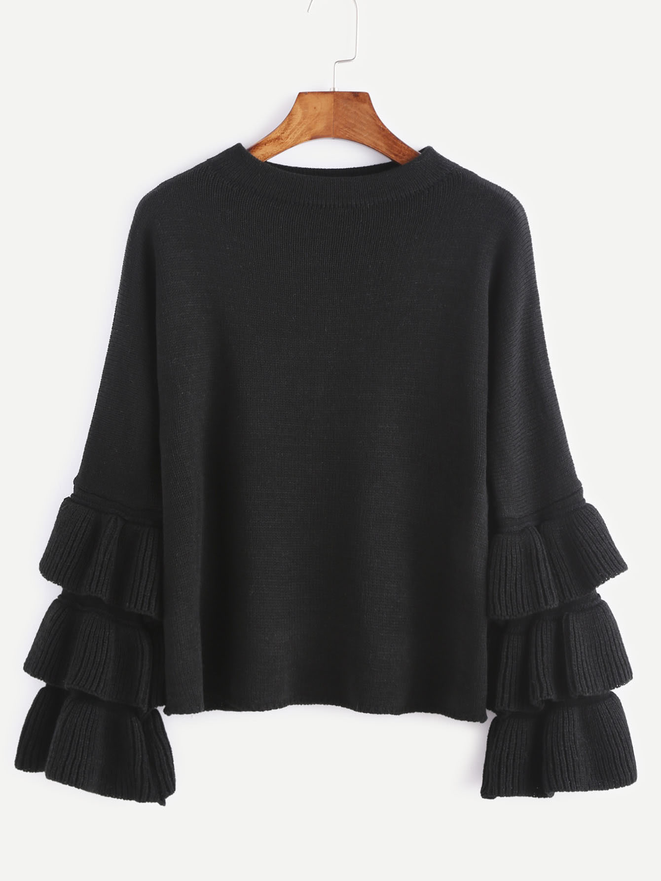 Black Layered Ruffle Sleeve Pullover Sweater -SheIn(Sheinside)