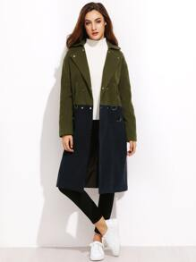 Colorblock Lapel Double Breasted Pocket Long Coat