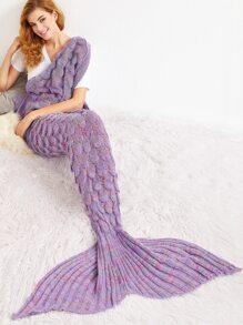 Couverture sirène tricoté forme en queue de poisson avec crochet - pourpre