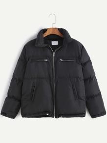 Black Zipper Detail Front Drawstring Hem Padded Coat