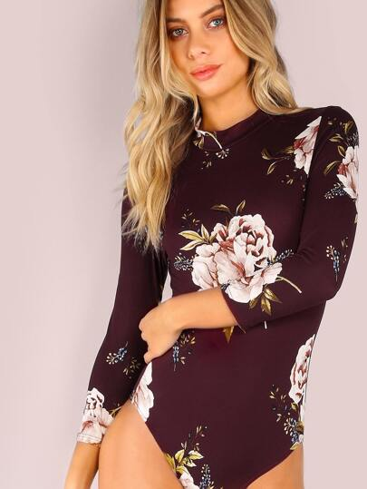 Sleeved Mock Neck Floral Print Bodysuit WINE