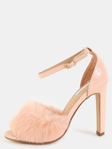 Patent Ankle Strap Fur Heels PINK