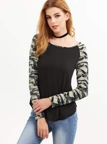 Black Camo Print Raglan Sleeve T-shirt
