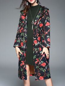 Black Flowers Print Hooded Coat