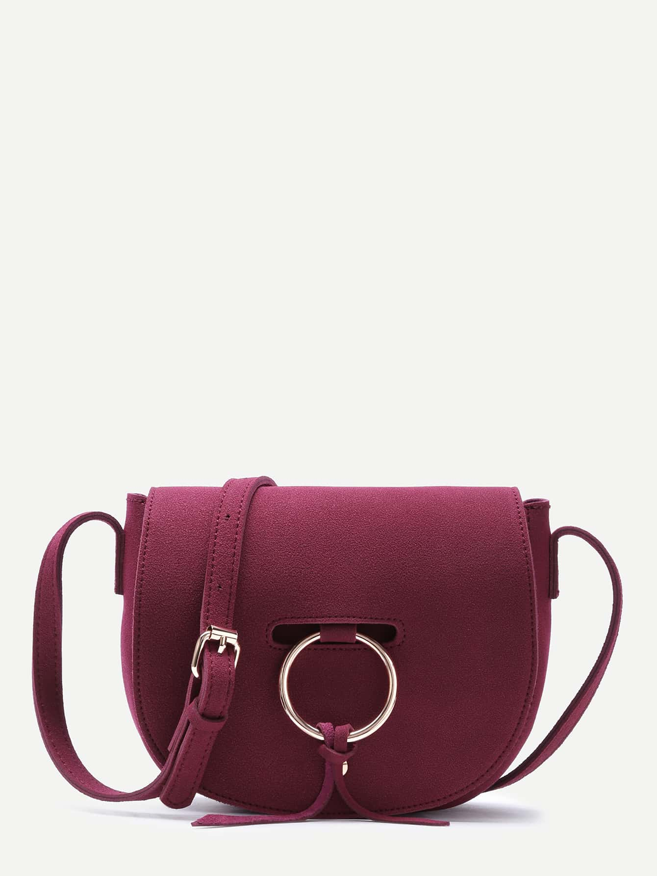 Red Nubuck Leather Metal Ring Flap Saddle Bag Image