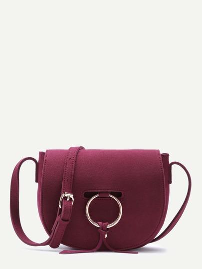 Red Nubuck Leather Metal Ring Flap Saddle Bag