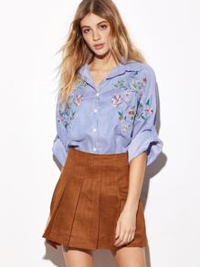 Blue Striped Botanical Embroidered Roll Sleeve Oversized Blouse