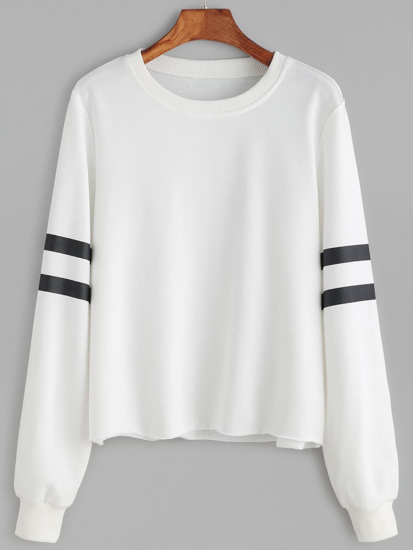 White Striped Sleeve Raw Hem Sweatshirt sweatshirt161101703