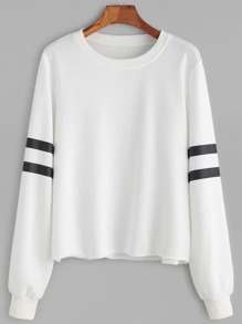 White Striped Sleeve Raw Hem Sweatshirt