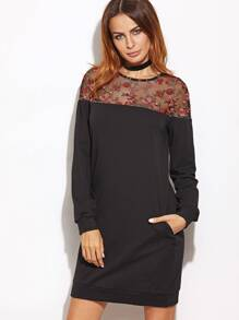 Black Embroidered Mesh Yoke Sweatshirt Dress