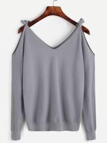 Grey Open Shoulder Jersey Sweater