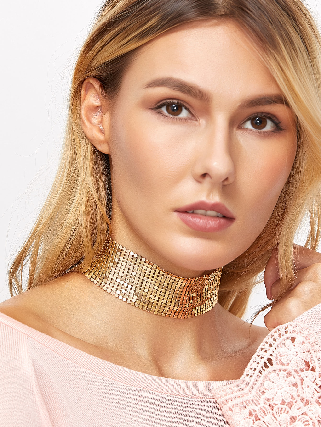 Gold Plated Sequin Wide Choker NecklaceGold Plated Sequin Wide Choker Necklace<br><br>color: Gold<br>size: None
