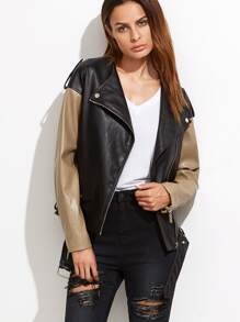 Contrast Faux Leather Belted Hem Biker Jacket