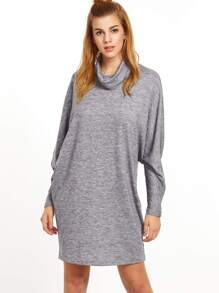 Heather Grey Cutout Cowl Neck Dolman Sleeve Dress