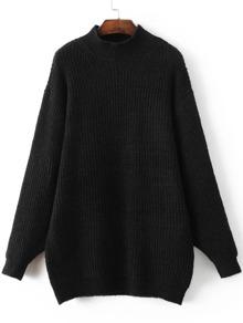 Black Mock Neck Drop Shoulder Sweater Dress