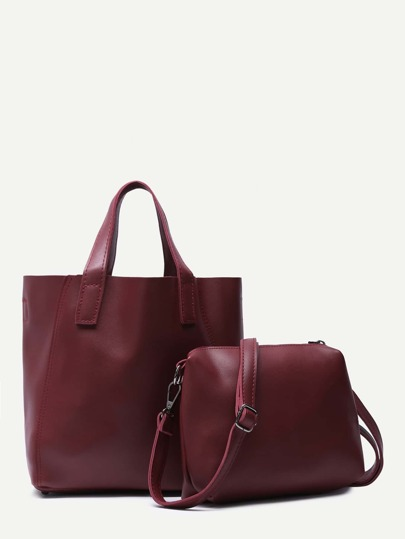 Burgundy Faux Leather 2Pcs Bag Set With Convertible Strap