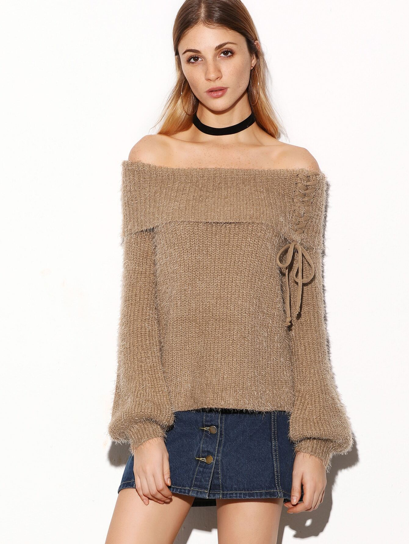 Off The Shoulder Lace Up Foldover Fuzzy Sweater sweater161102101
