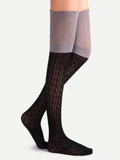 Contrast Over The Knee Crochet Socks