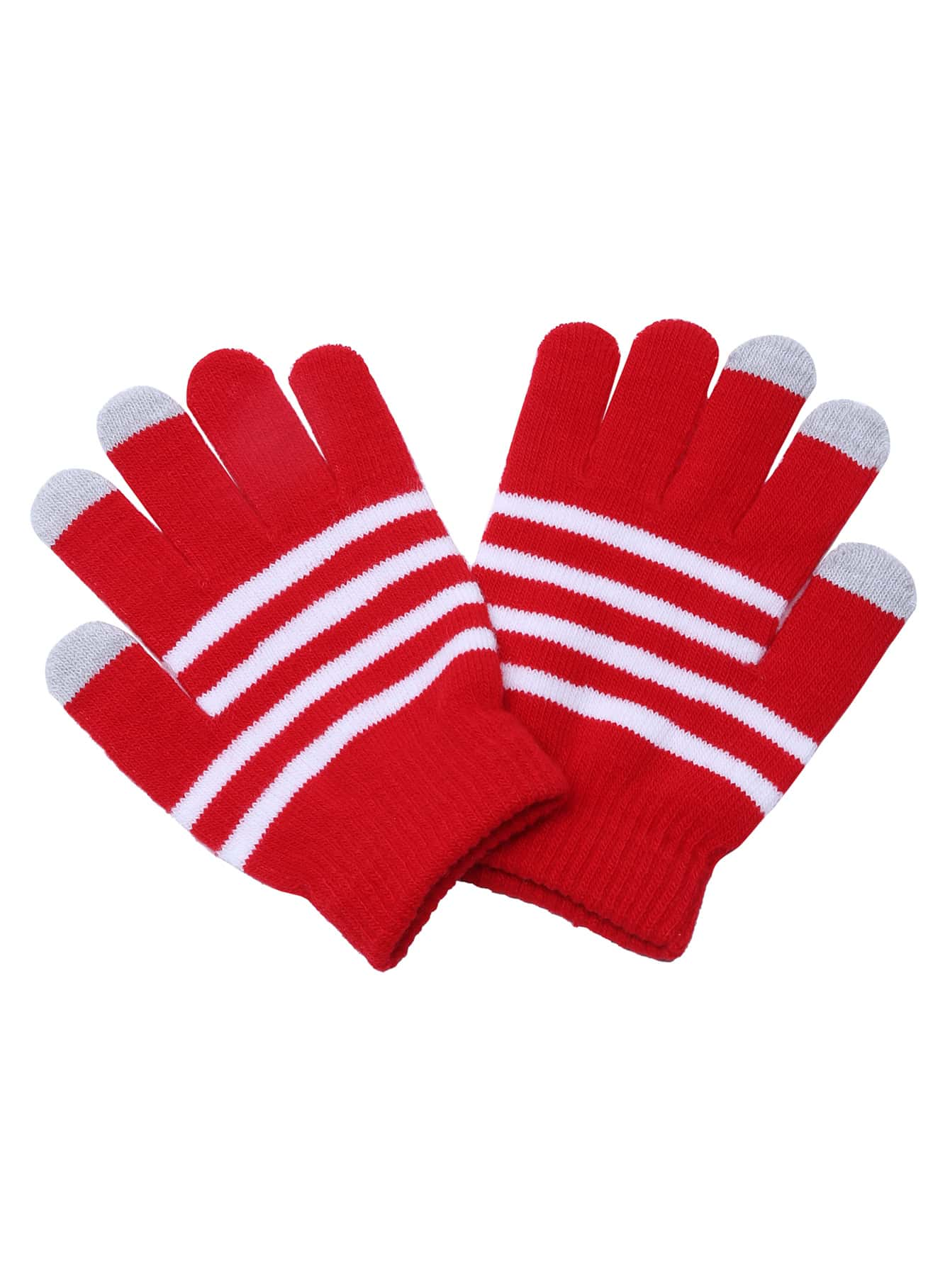 Фото Red Striped Knit Textured Telefingers Gloves. Купить с доставкой