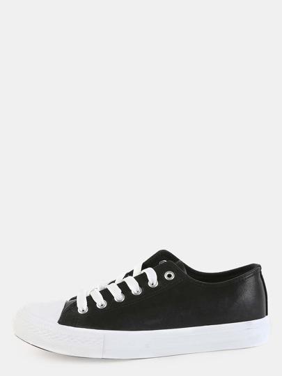 Classic Round Toe PU Sneakers BLACK