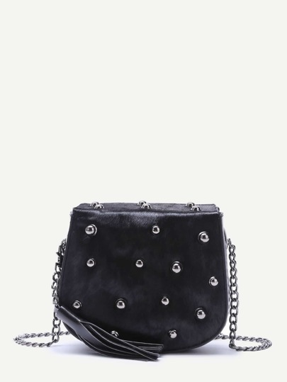Black Tassel Trim Studded Horse Hair Crossbody Bag