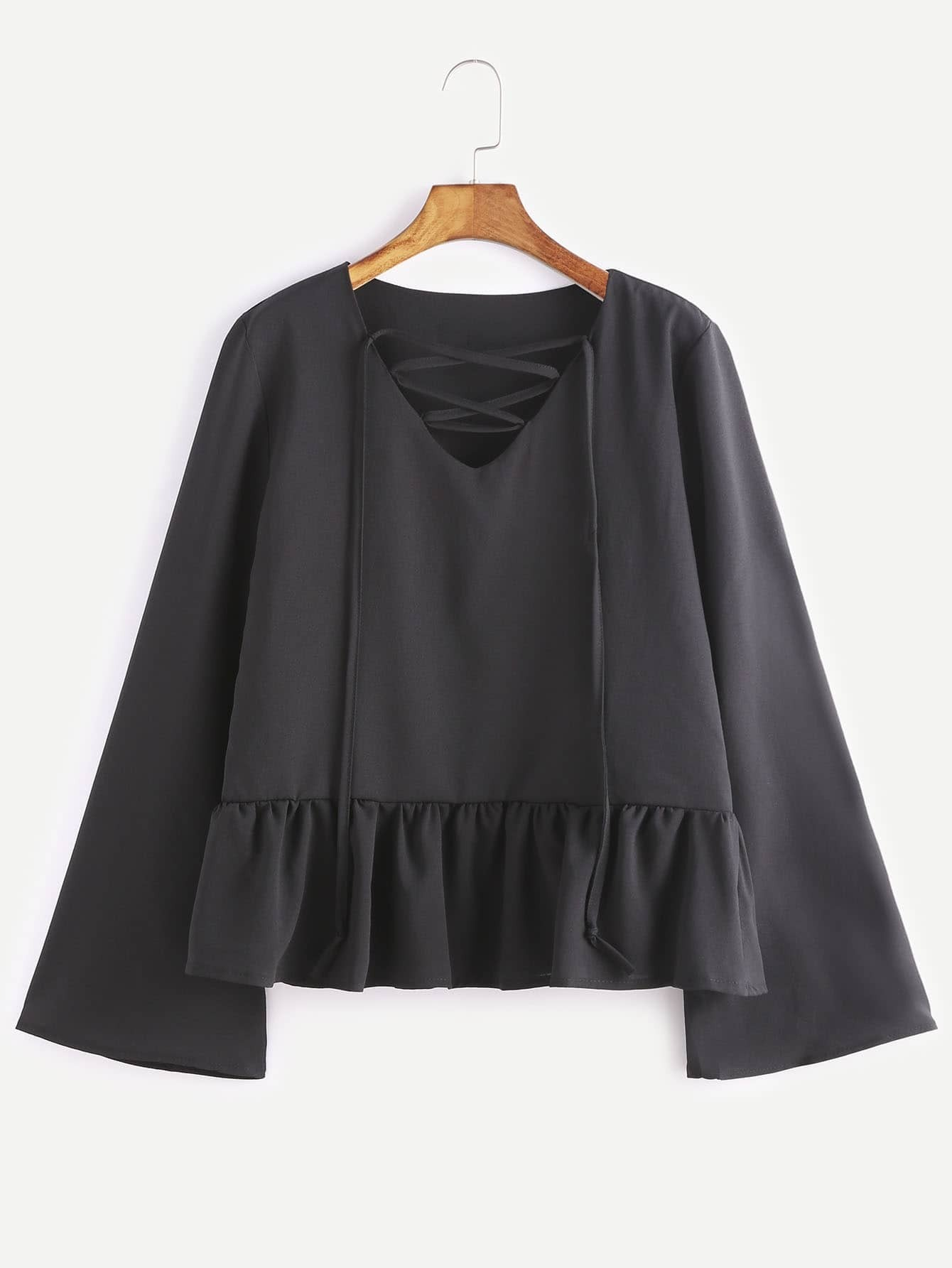 Black V Neck Lace Up Ruffle Hem Blouse blouse161123101