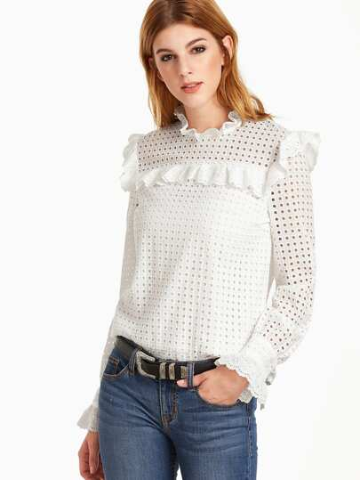 White Eyelet Embroidered Keyhole Back Ruffle Trim Top