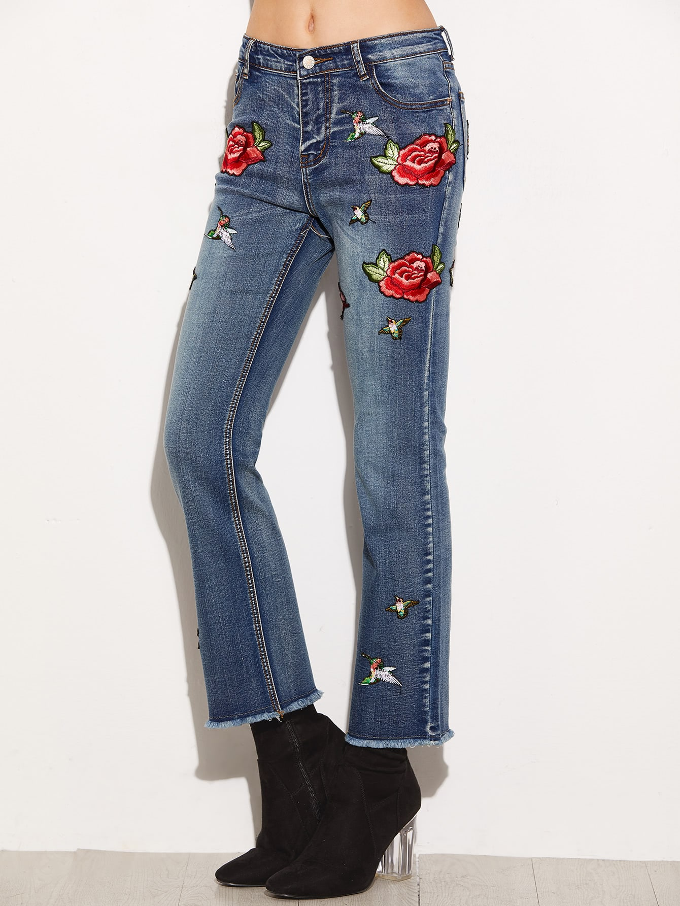 Buy Blue Frayed Flare Jeans Embroidered Applique Detail