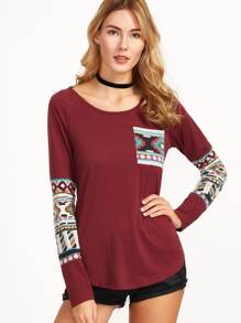 Burgundy Curved Hem Pocket T-shirt With Tribal Print Detail
