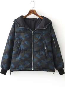 Blue Zipper Hooded Camouflage Padded Coat