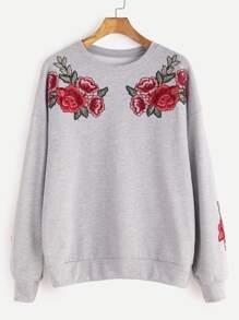Drop Shoulder Rose Embroidered Sweatshirt