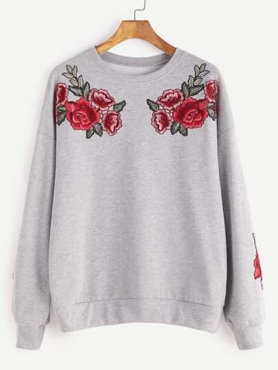 Sweatshirt mit Rose Stickereien Drop Schulter-hell grau