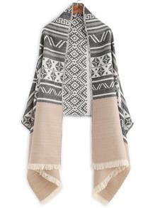 Bufanda con estampado étnico y flecos - negro beige