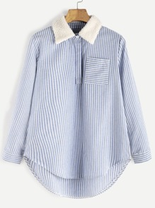 Blue Striped Contrast Collar High Low Blouse