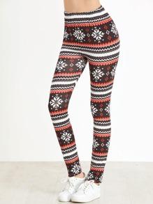 Christmas Print Elastic Waist Leggings