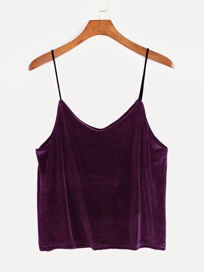 Purple Velvet Cami Top