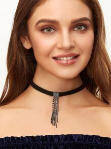 Black Rhinestone Tassel Pendant Choker Necklace