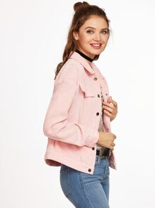 Pink Single Breasted Cord Jacket