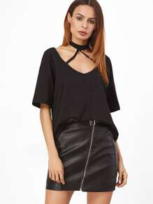 Black Strappy Halter Neck T-shirt