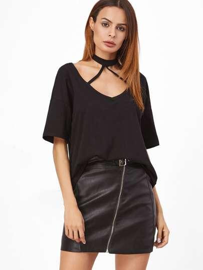 Black Strappy Halter Neck T-shirt